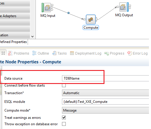 The compute node has a datasource set but it does not access the database (WMB)