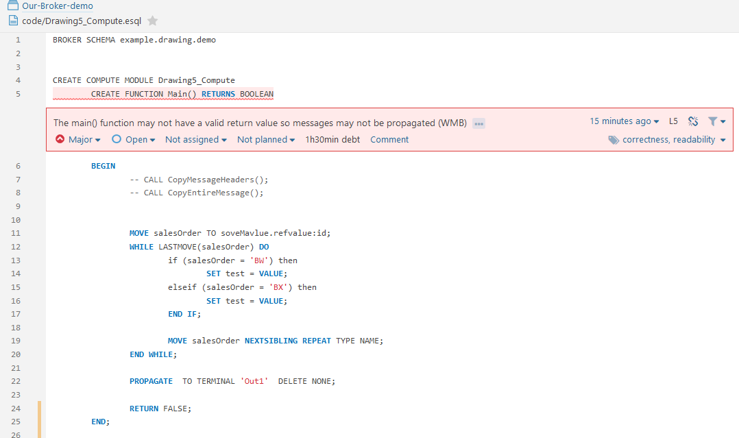 The main() function may not have a valid return value so messages may not be propagated
