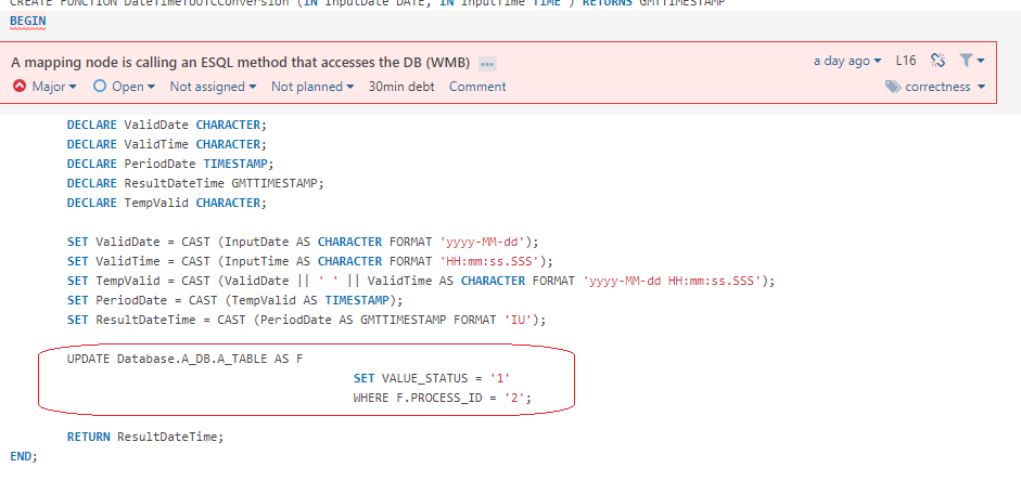 A mapping node is calling an ESQL method that accesses the DB